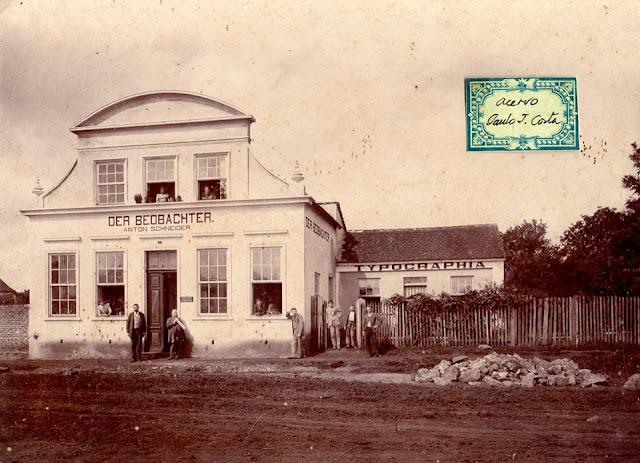 """Foto do início do século XX da casa que foi a sede do jornal """"Der Beobachter"""" em Curitiba. Acervo: Paulo José da Costa"""