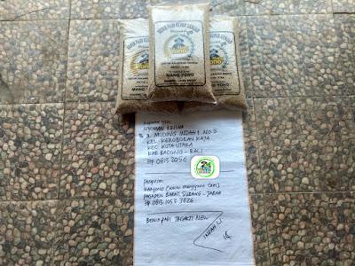 Benih padi yang dibeli   NYOMAN KRISNA Badung, Bali.   (Sebelum packing karung).