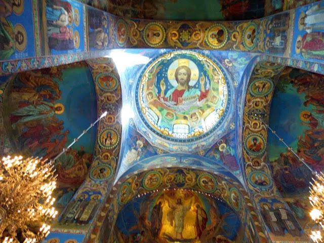 An interior view of the mosaics that decorate the Church of the Savior on Spilled Blood
