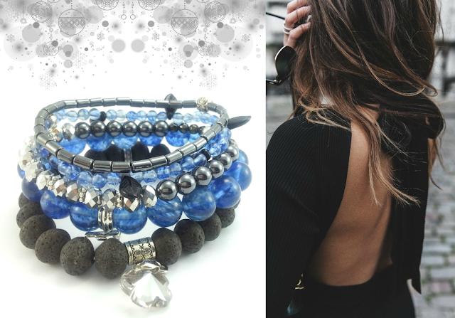 Komplet biżuterii kamienie naturalne- kwarc niebieski, lawa wulkaniczna, hematyt, kryształki i zawieszki charms.