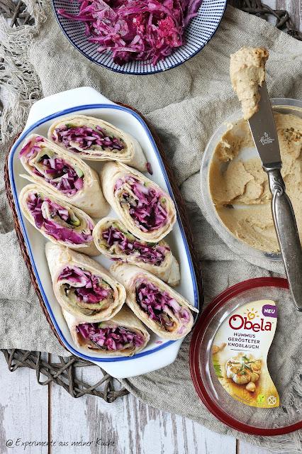 Gefüllte Wraps mit Hummus und Rotkohl | Essen | Rezept