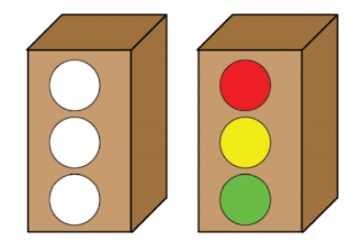 Siapkan kardus biarkan bagian belakang terbuka.  Buat 3 lubang berbentuk lingkaran.  Buat sekat pembatas antara setiap lubang (akan terdapat 2 sekat).  Tutup lubang menggunakan kertas warna merah, kuning, dan hijau.
