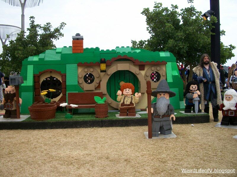 Bilbo's House (with characters) from The Hobbit all made from Legos - Outside San Diego Comic Con 2013