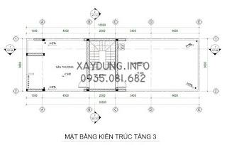 mặt bằng bố trí nội thất tầng 3 nhà phố kích thước 5x20