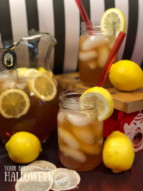 blood orange carnival palmer, halloween arnold palmer recipe, fresh squeezed lemonade with blood orange tea, carnival halloween drink recipe