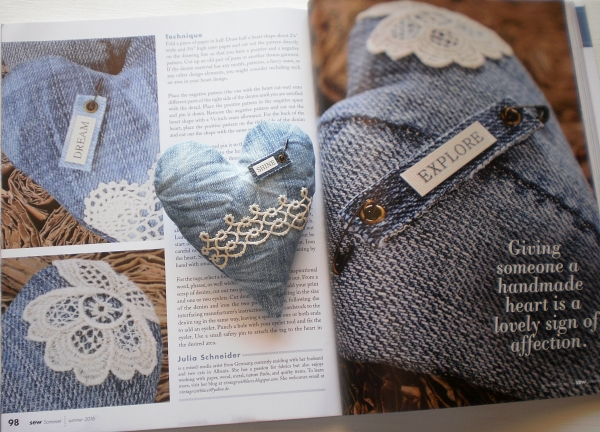Upcycled Denim Hearts by Vintage with Laces published in Sew Somerset