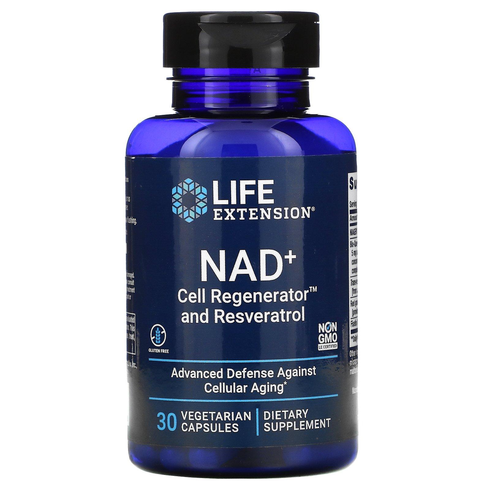 Life Extension, NAD+ Cell Regenerator and Resveratrol, 30 Vegetarian Capsules