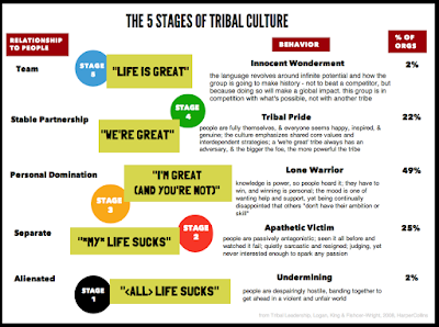 Detailed slide around the five stages of tribal culture