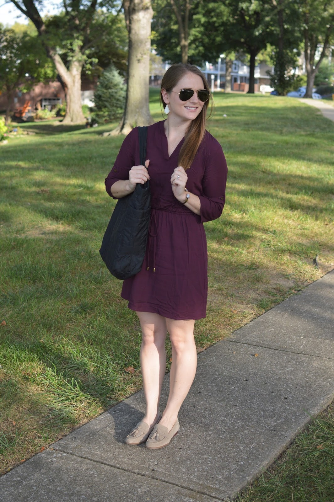 what to wear to work this fall | cute outfit ideas for work | maroon shirt dress | a memory of us