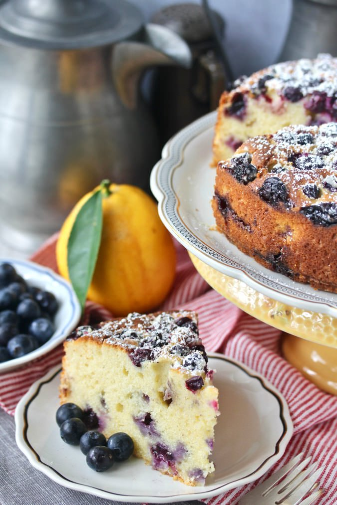 Slice of Lemon Blueberry Ricotta Tea Cake