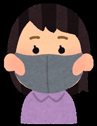 ウレタンマスクをつけた人のイラスト(女性)