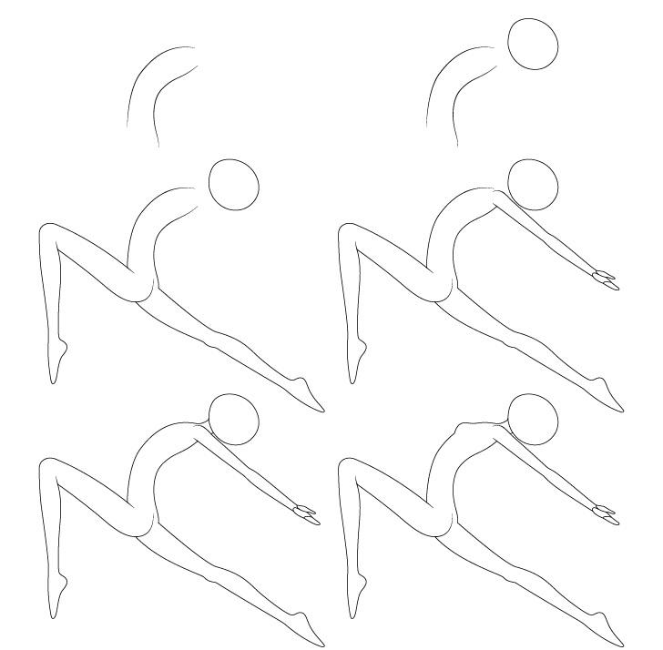 Anime balet berpose menggambar langkah demi langkah