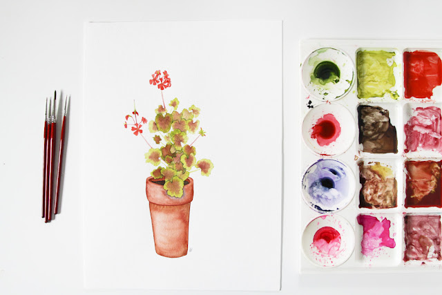 watercolor, watercolor plants, watercolor geranium, clay pot, Anne Butera, My Giant Strawberry
