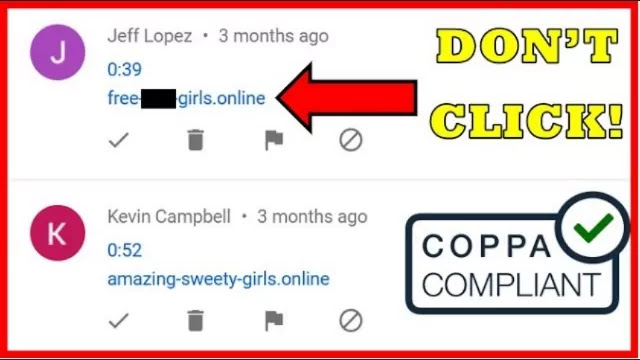 Likely spam comments YouTube