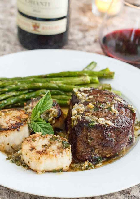 Scampi-Style Steak & Scallops | Savoring Today