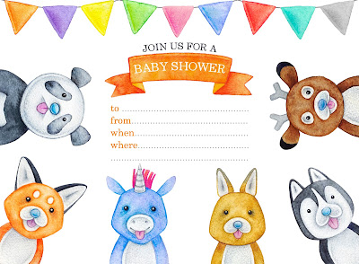 cute animal baby shower invitations