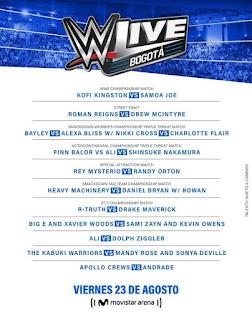 PROGRAMACIÓN de LUCHAS WWE LIVE en Bogotá