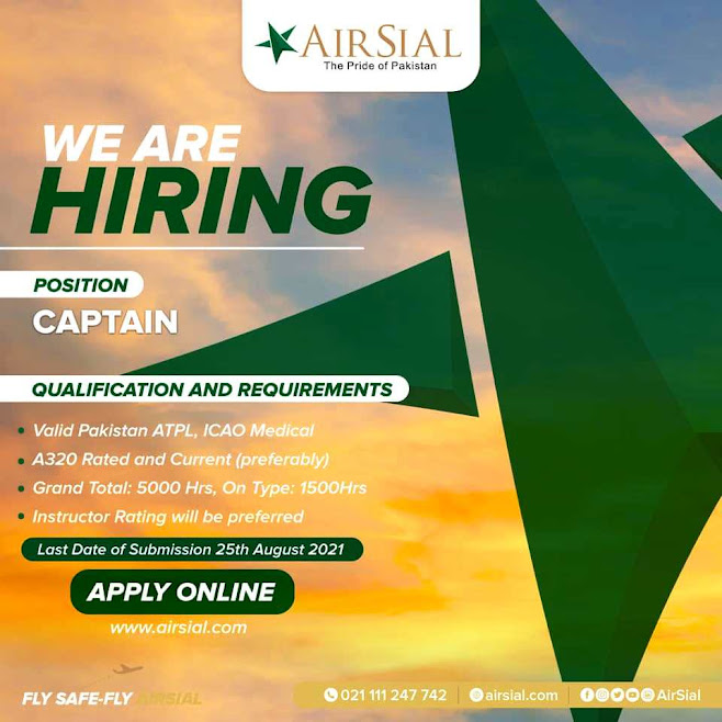 AirSial Latest  Jobs 2021 Online Apply - Latest Jobs in Air Sial News Jobs 2021 www.airsial.com latest August Jobs 2021