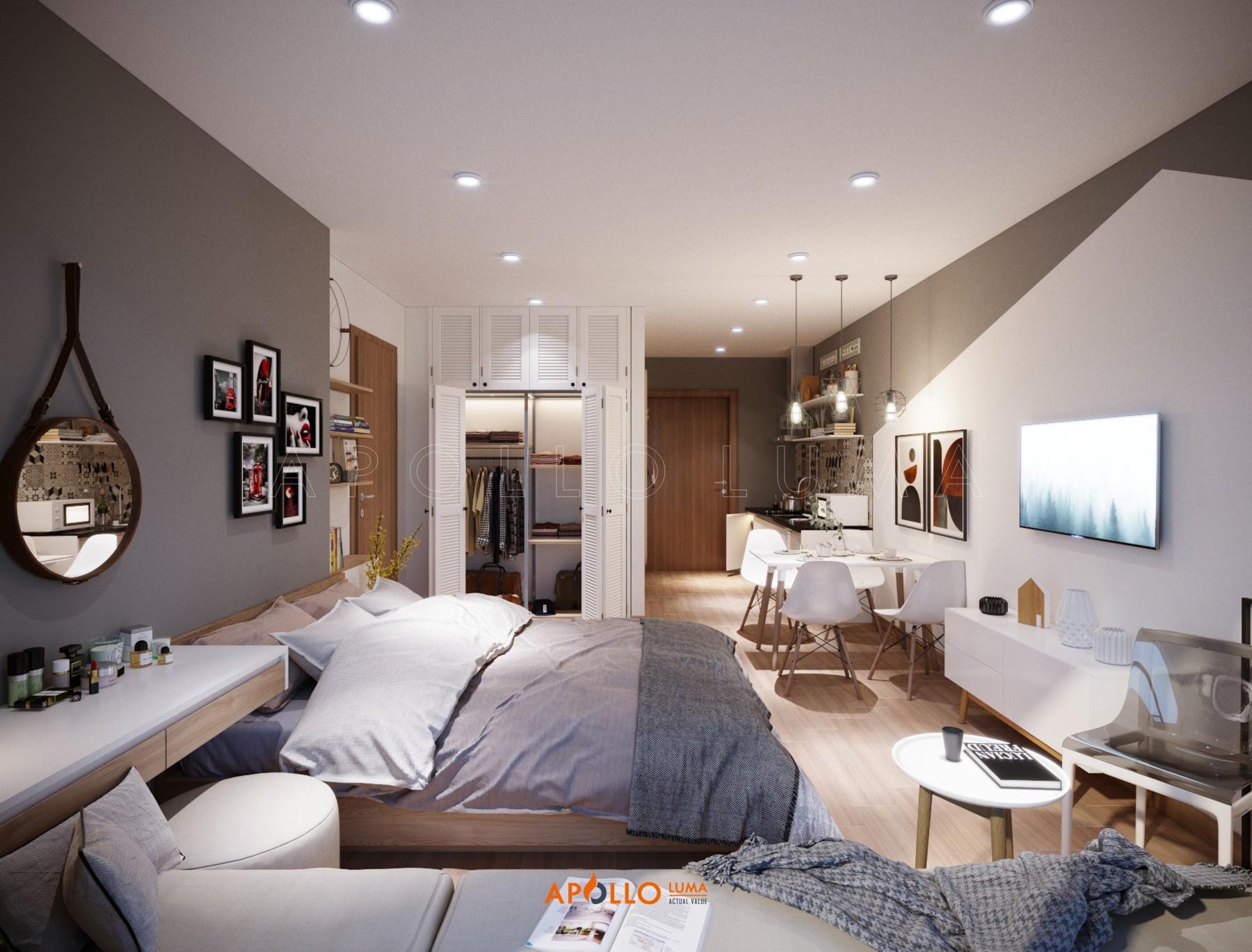 Thiết kế nội thất căn hộ Studio Vinhomes Ocean Park hiện đại sang trọng