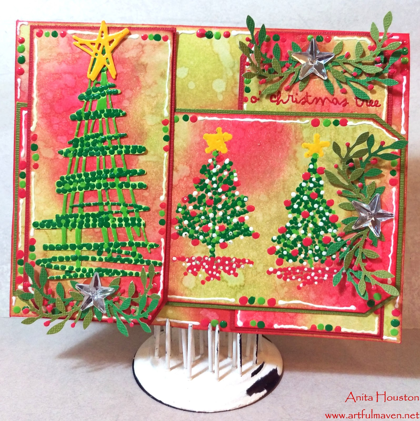 Ou0027 Christmas Tree Enamel Accents Card