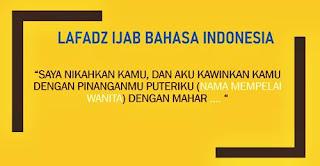 kalimat ijab kabul  bahasa indonesia