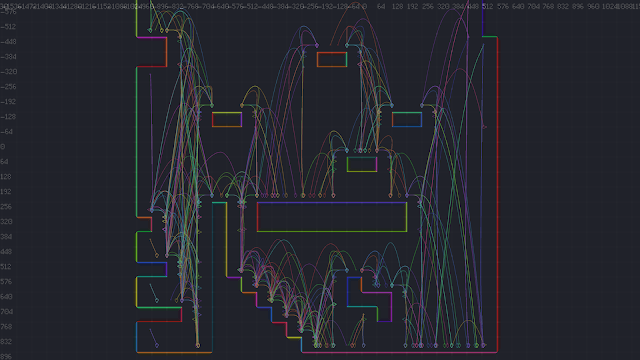 A screenshot showing all of the surfaces within a level and all of the edge trajectories for a character.