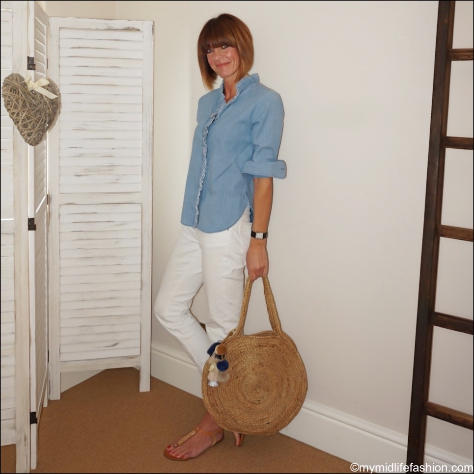 my midlife fashion, Isabel Marant Etoile frill chambray shirt, Zara cropped distressed jeans, carvela koncert sandals, Ashiana Santorini round beach bag
