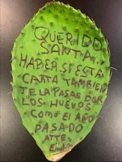 Carta papa Noel cactus niño enfadado