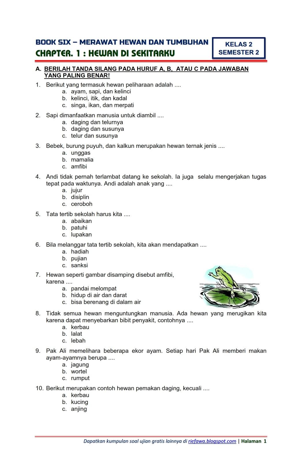 Download Soal Tematik Kelas 2 Semester 2 Tema 6 Subtema 1 ...