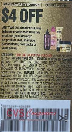 "$4.00/2-L'Oreal Paris Elvive Hair care or Advanced Hairstyle products Coupon from ""RetailMeNot"" insert week of 5/31/20."