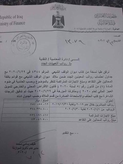 وزارة المالية تخاطب دائرة المحاسبة بخصوص صرف رواتب المعينين الجدد في ديوان الوقف الشيعي