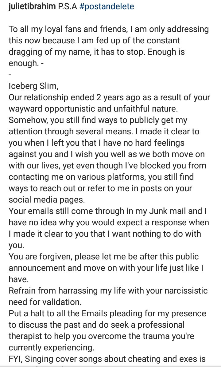 """Refrain from harassing my life"""" Juliet Ibrahim warns ex-boyfriend Iceberg Slim after he released a song about cheating on her"""