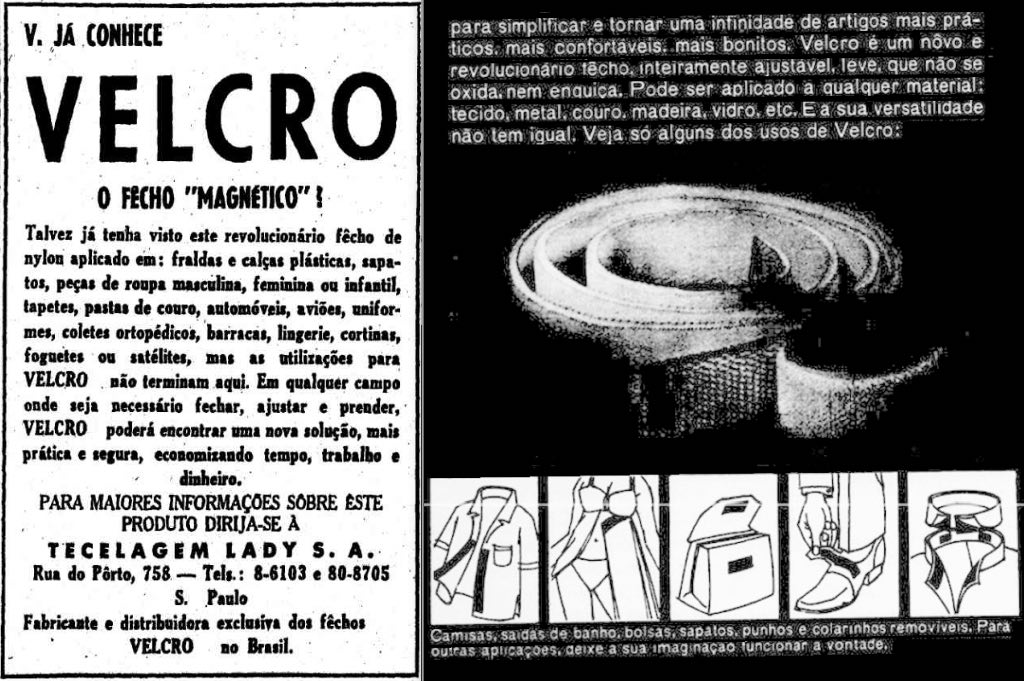 Anúncio do lançamento do Velcro no Brasil apresentado em 1967