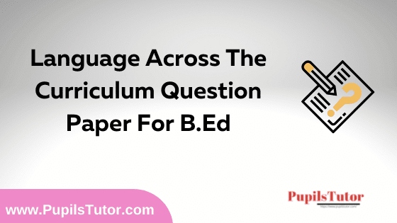 Language Across The Curriculum Question Paper For B.Ed 1st And 2nd Year And All The 4 Semesters In English, Hindi And Marathi Medium Free Download PDF | Language Across The Curriculum Question Paper In English | Language Across The Curriculum Question Paper In Hindi | Language Across The Curriculum Question Paper In Marathi