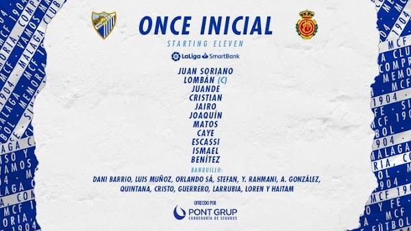 Málaga - Mallorca, alineaciones oficiales