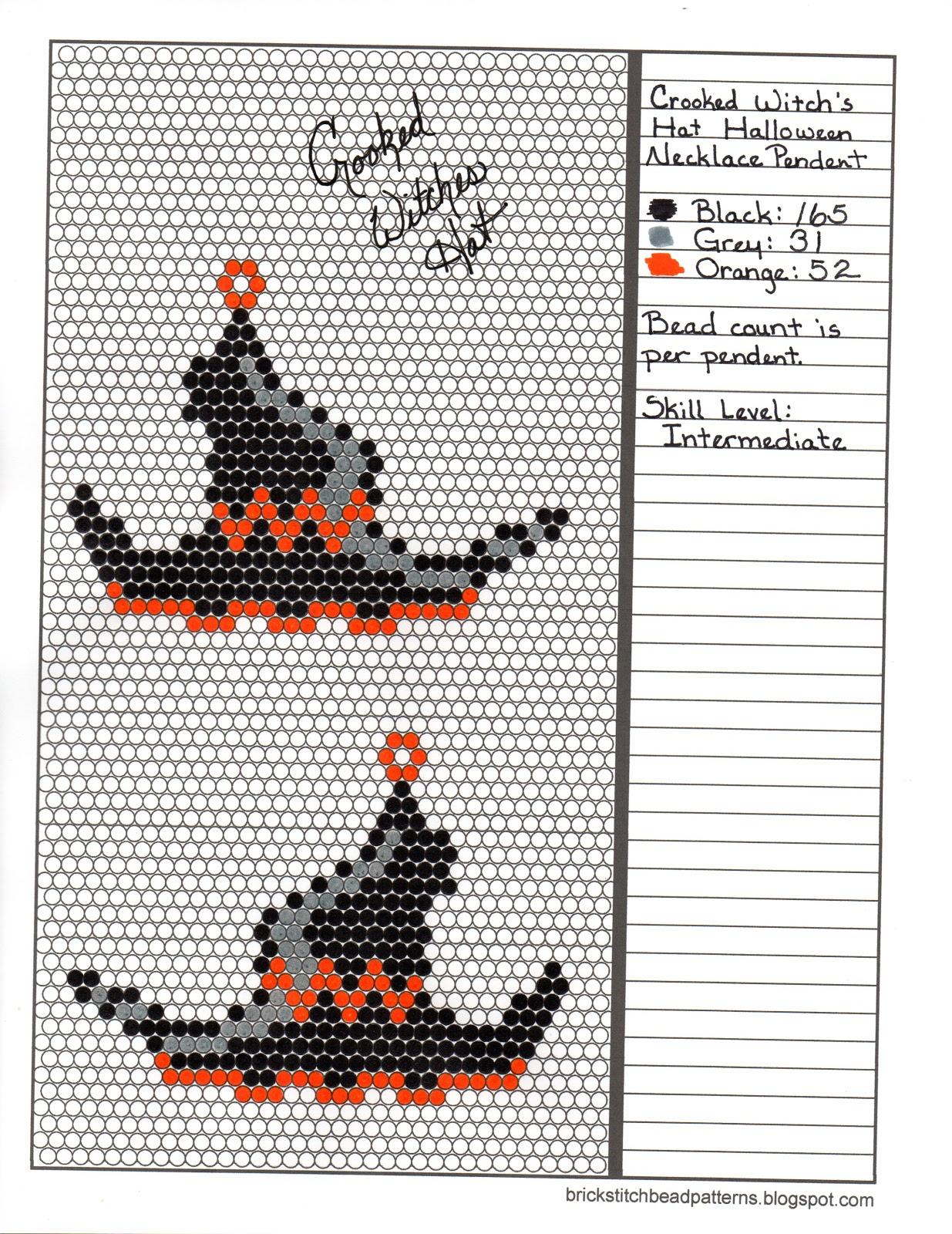 5ae74a47ec6 Brick Stitch Bead Patterns Journal  Crooked Witch s Hat Free Brick ...