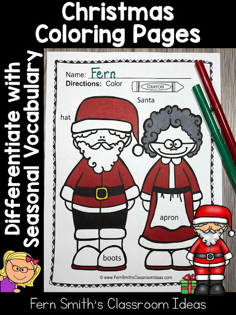 Sixty-Six Christmas Coloring Pages with Differentiated Seasonal Vocabulary Words at TeacherspayTeachers by Fern Smith's Classroom Ideas. Perfect for Pre-k, Kindergarten and First Grade for December.