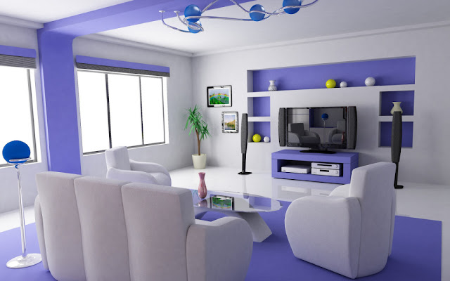White and Blues Minimalist Feminine Living Room Design Ideas 2016