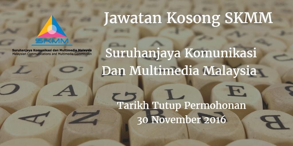 Jawatan Kosong SKMM 30 November 2016