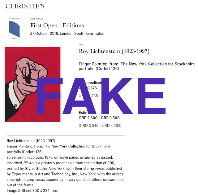 Fake Roy Lichtenstein Finger Pointing erroneously documented as Printer's Proof 4/10 sold for $11.4K at Christie's