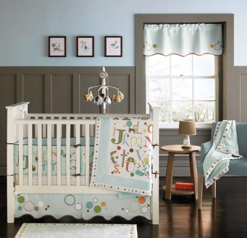 Dormitorio de bebé en azul y gris   dormitorios colores y estilos