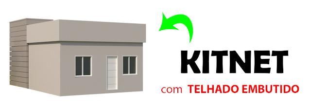 kitnet com telhado embutido