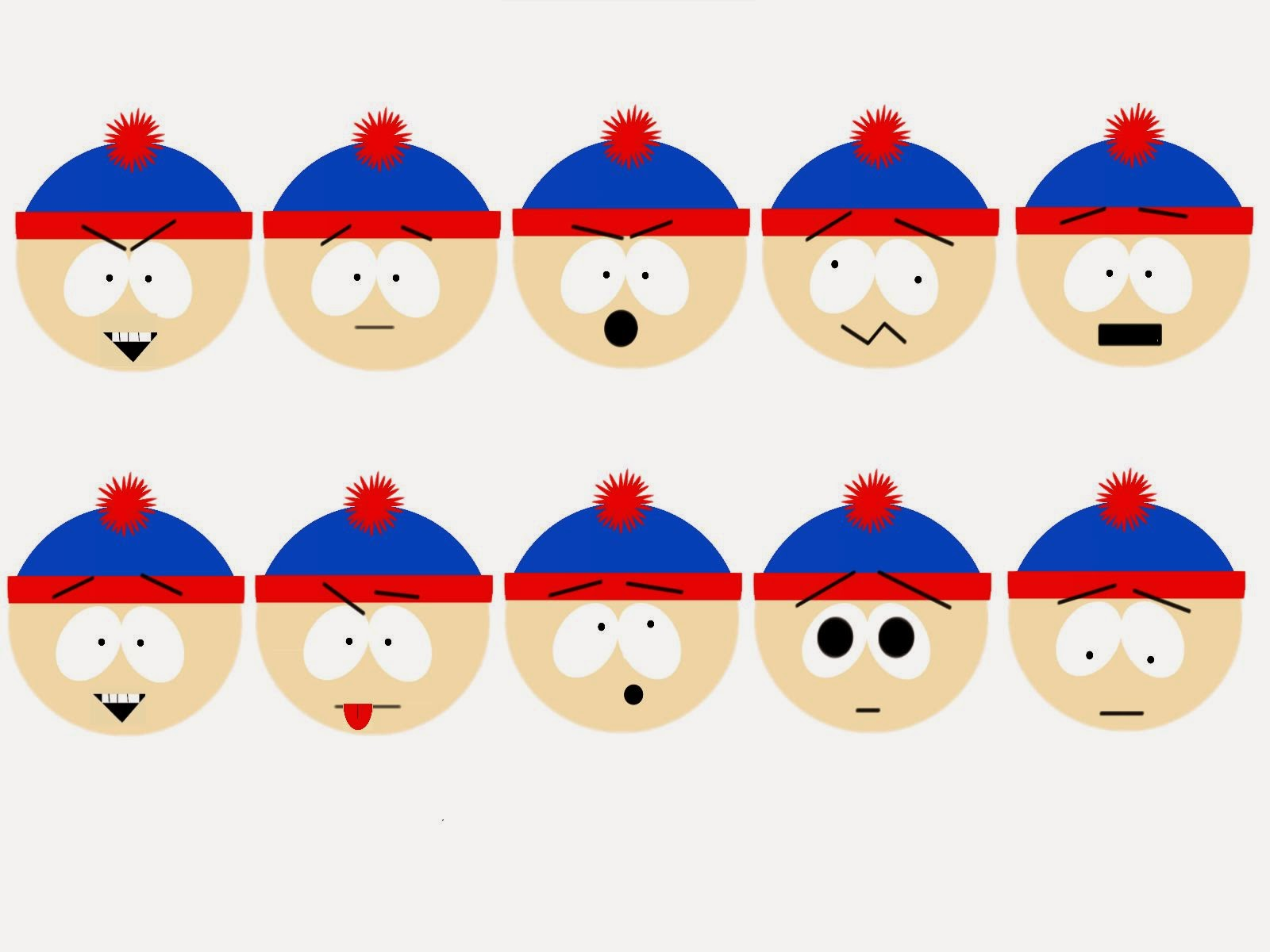 In This Project I Used The South Park Character Stan Marsh For My Emotion Board First Expression Top Left Hand Corner Is Expressing Evil