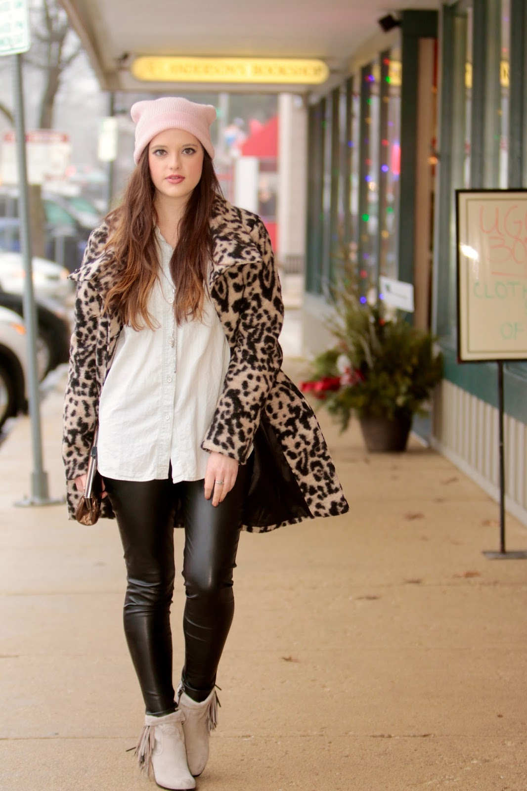 Leopard Coat Leather Leggings