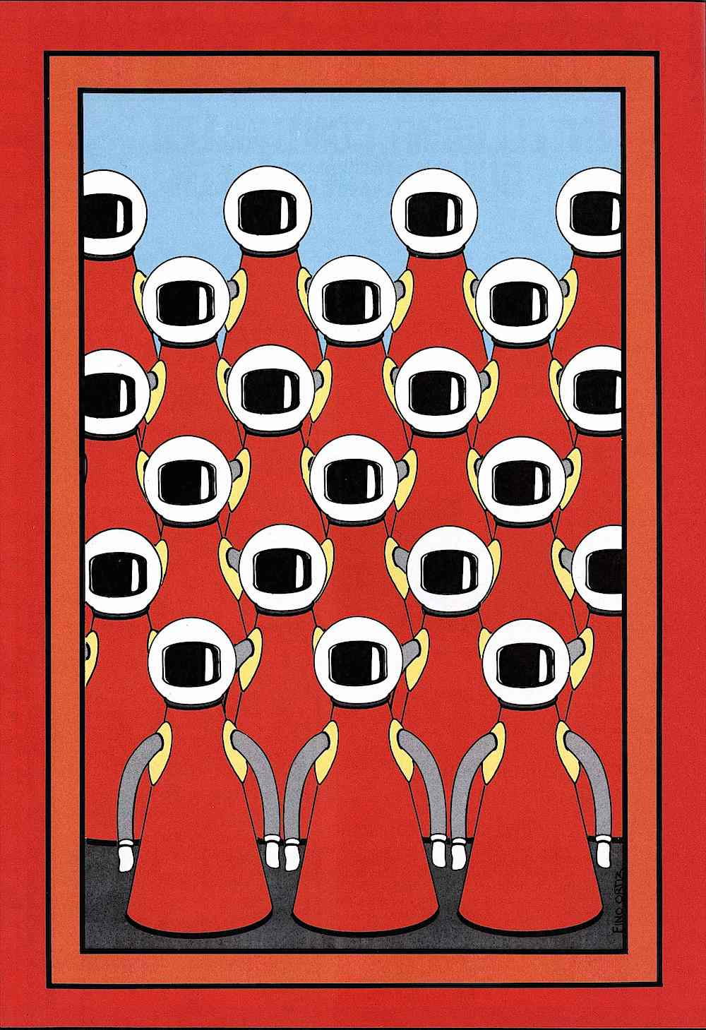 a 1978 illustration of conformity in red