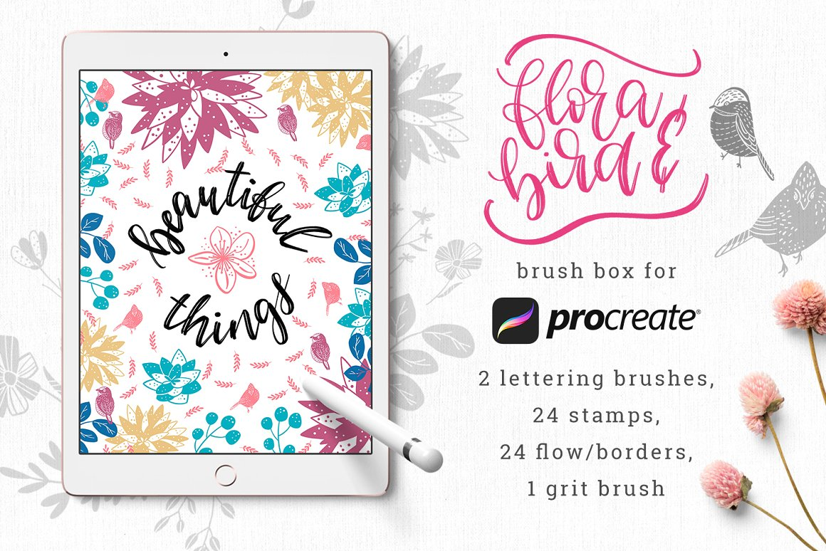 Bondil Professional Photoshop Brushes Collection Flowers, Roses, Patterns and Motifs for Design