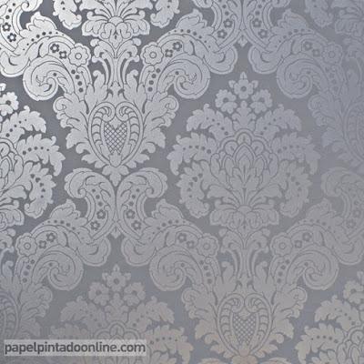 Papel Pintado Damasco Gris Oscuro con Plata Ref. 5288-6
