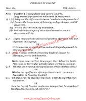 Pedagogy of English B.Ed Question Paper