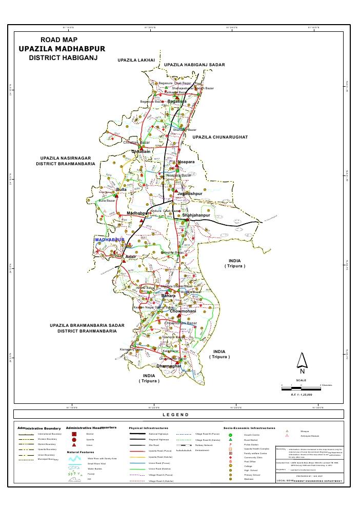 Madhabpur Upazila Road Map Habiganj District Bangladesh