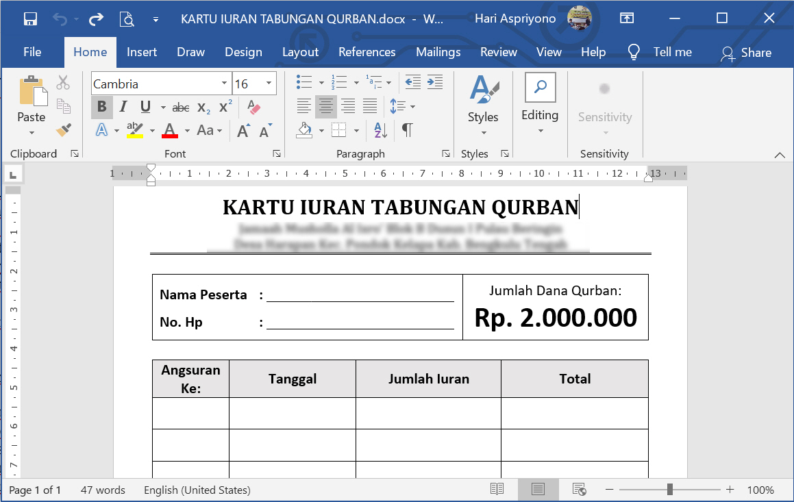 Contoh Dan Cara Membuat Kartu Iuran Tabungan Qurban Menggunakan Ms Word Tutup Kurung
